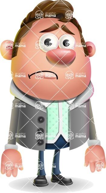 Fashionable Man Cartoon 3D Vector Character AKA Lincoln - Sad
