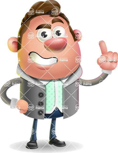 Fashionable Man Cartoon 3D Vector Character AKA Lincoln - Attention