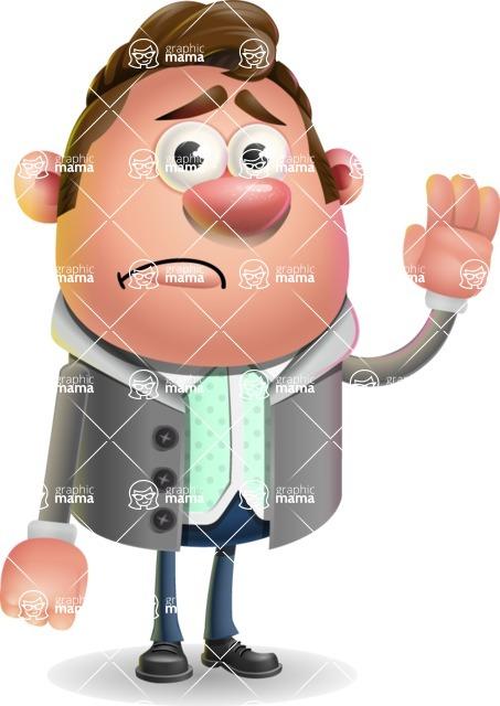 Fashionable Man Cartoon 3D Vector Character AKA Lincoln - Goodbye