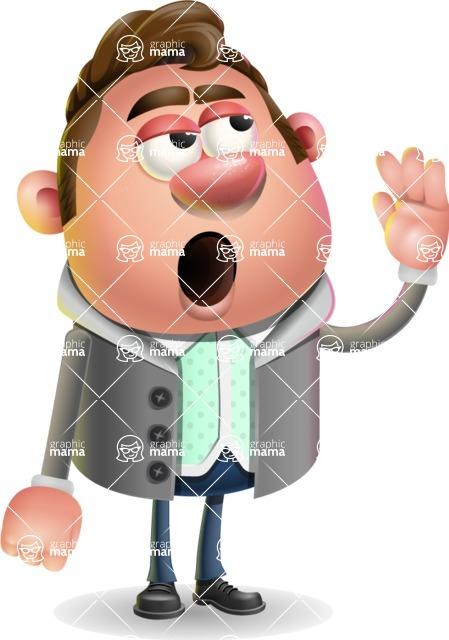 Fashionable Man Cartoon 3D Vector Character AKA Lincoln - Bored 2