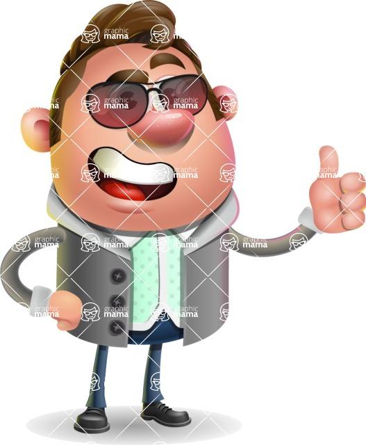Fashionable Man Cartoon 3D Vector Character AKA Lincoln - Sunglasses