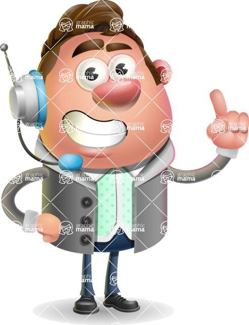 Fashionable Man Cartoon 3D Vector Character AKA Lincoln - Support 2
