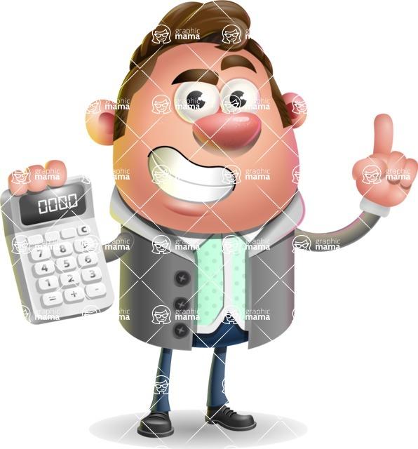Fashionable Man Cartoon 3D Vector Character AKA Lincoln - Calculator