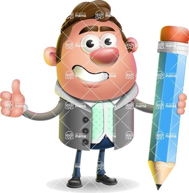 Fashionable Man Cartoon 3D Vector Character AKA Lincoln - Pencil