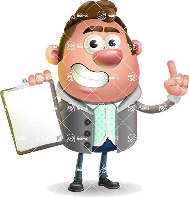 Fashionable Man Cartoon 3D Vector Character AKA Lincoln - Notepad 1