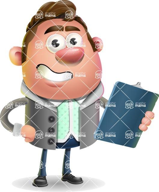 Fashionable Man Cartoon 3D Vector Character AKA Lincoln - Notepad 2