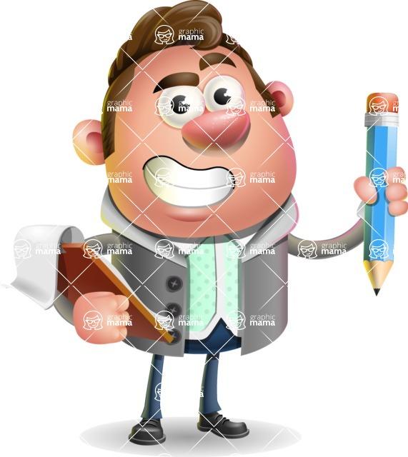Fashionable Man Cartoon 3D Vector Character AKA Lincoln - Notepad 3