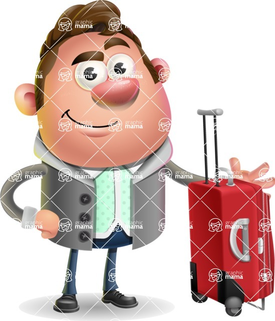 Fashionable Man Cartoon 3D Vector Character AKA Lincoln - Travel 1