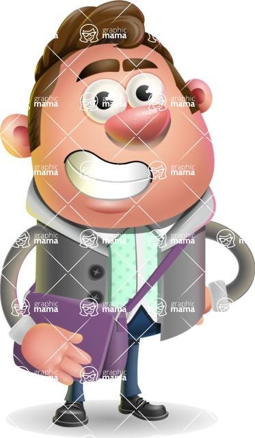 Fashionable Man Cartoon 3D Vector Character AKA Lincoln - Travel 2