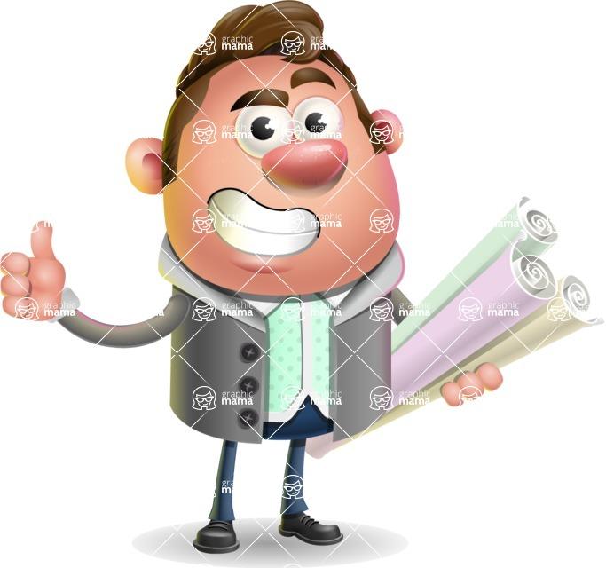 Fashionable Man Cartoon 3D Vector Character AKA Lincoln - Plans