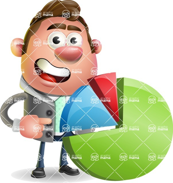 Fashionable Man Cartoon 3D Vector Character AKA Lincoln - Chart
