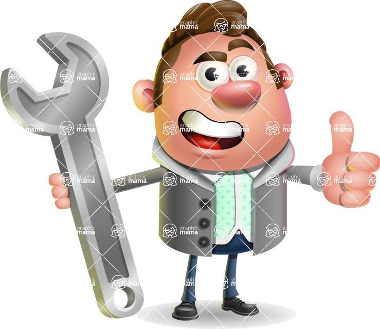 Fashionable Man Cartoon 3D Vector Character AKA Lincoln - Repair