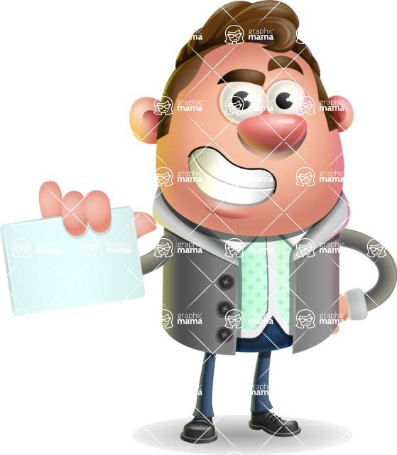 Fashionable Man Cartoon 3D Vector Character AKA Lincoln - Sign 1