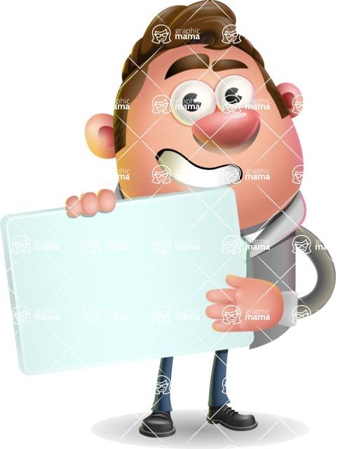 Fashionable Man Cartoon 3D Vector Character AKA Lincoln - Sign 3