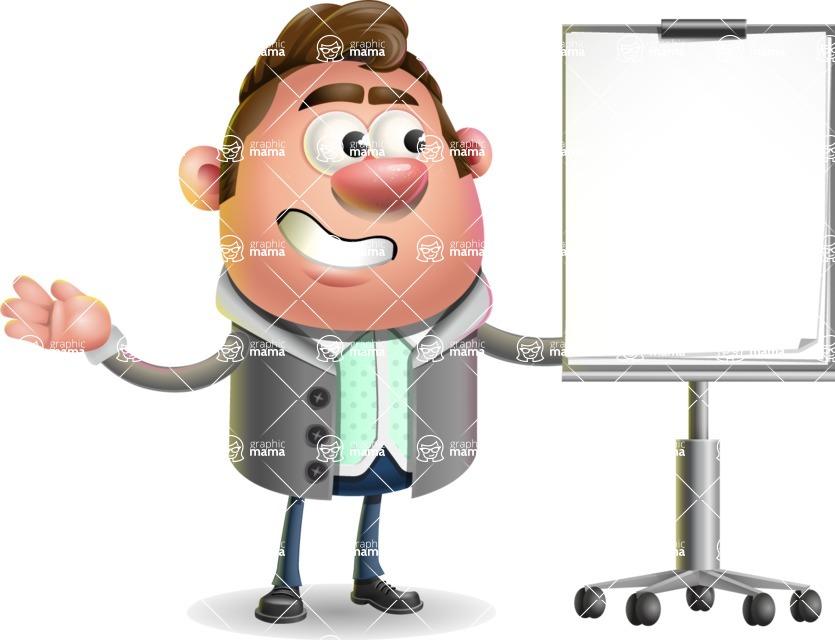 Fashionable Man Cartoon 3D Vector Character AKA Lincoln - Presentation 1
