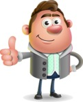 Fashionable Man Cartoon 3D Vector Character AKA Lincoln - Thumbs Up