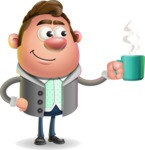 Fashionable Man Cartoon 3D Vector Character AKA Lincoln - Coffee