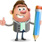 Fashionable Man Cartoon 3D Vector Character AKA Lincoln - Pencil
