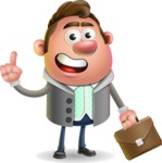 Fashionable Man Cartoon 3D Vector Character AKA Lincoln - Briefcase 2