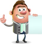Fashionable Man Cartoon 3D Vector Character AKA Lincoln - Sign 2