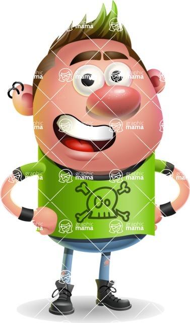 Punk Boy Cartoon Vector 3D Character AKA Carter Punk - Normal