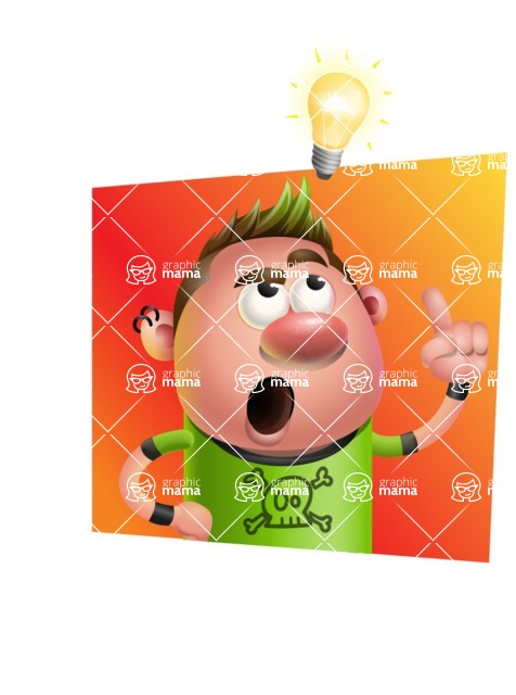 Punk Boy Cartoon Vector 3D Character AKA Carter Punk - Shape 3