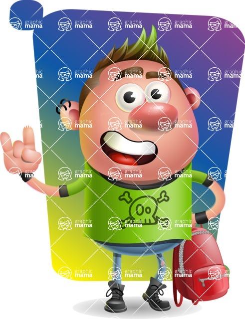 Punk Boy Cartoon Vector 3D Character AKA Carter Punk - Shape 5