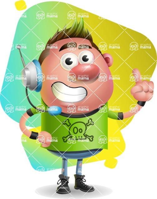 Punk Boy Cartoon Vector 3D Character AKA Carter Punk - Shape 7