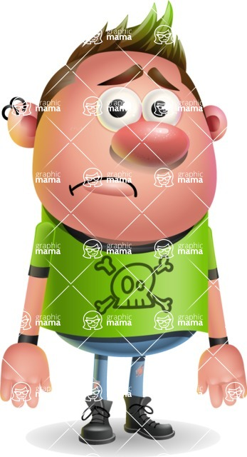 Punk Boy Cartoon Vector 3D Character AKA Carter Punk - Sad