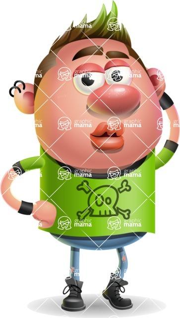 Punk Boy Cartoon Vector 3D Character AKA Carter Punk - Duckface