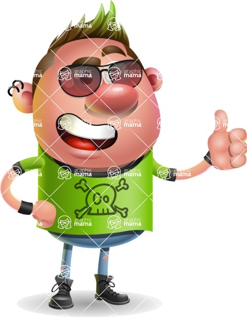 Punk Boy Cartoon Vector 3D Character AKA Carter Punk - Sunglasses
