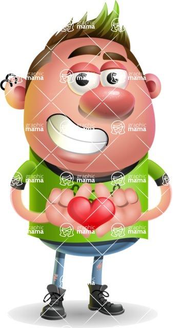 Punk Boy Cartoon Vector 3D Character AKA Carter Punk - Show Love