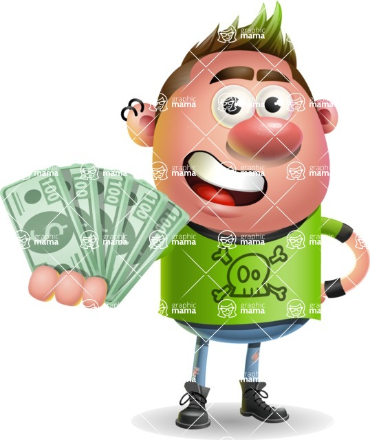 Punk Boy Cartoon Vector 3D Character AKA Carter Punk - Show me  the Money