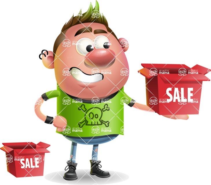 Punk Boy Cartoon Vector 3D Character AKA Carter Punk - Sale