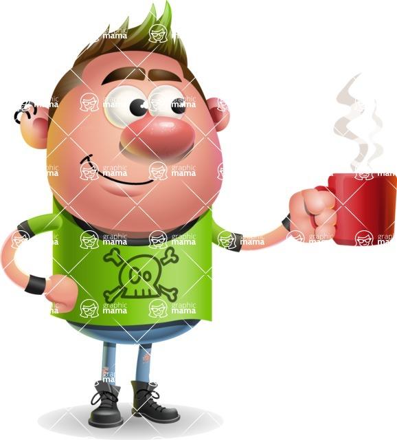 Punk Boy Cartoon Vector 3D Character AKA Carter Punk - Coffee
