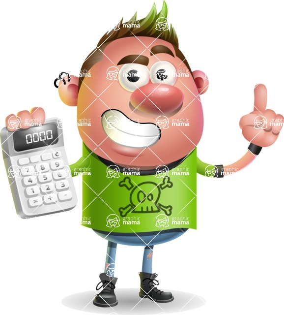 Punk Boy Cartoon Vector 3D Character AKA Carter Punk - Calculator