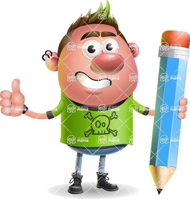 Punk Boy Cartoon Vector 3D Character AKA Carter Punk - Pencil