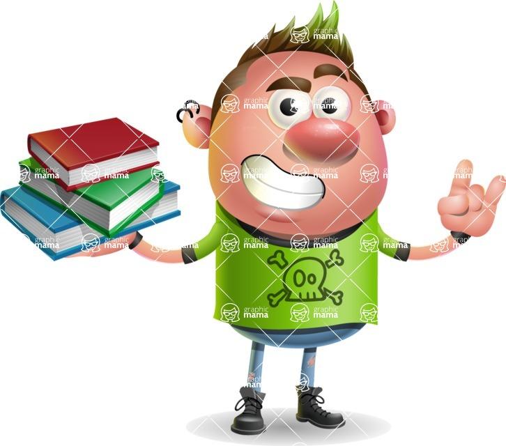 Punk Boy Cartoon Vector 3D Character AKA Carter Punk - Book 2