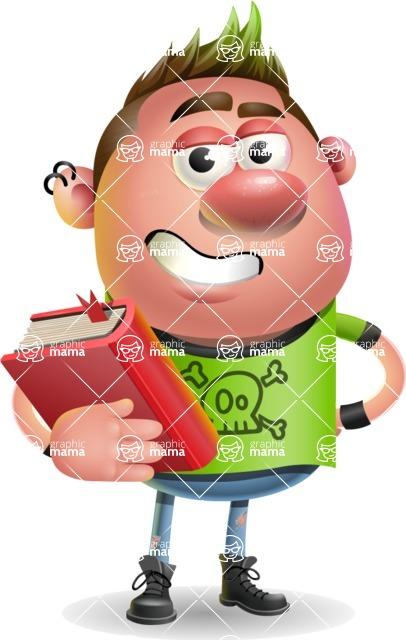Punk Boy Cartoon Vector 3D Character AKA Carter Punk - Book 3