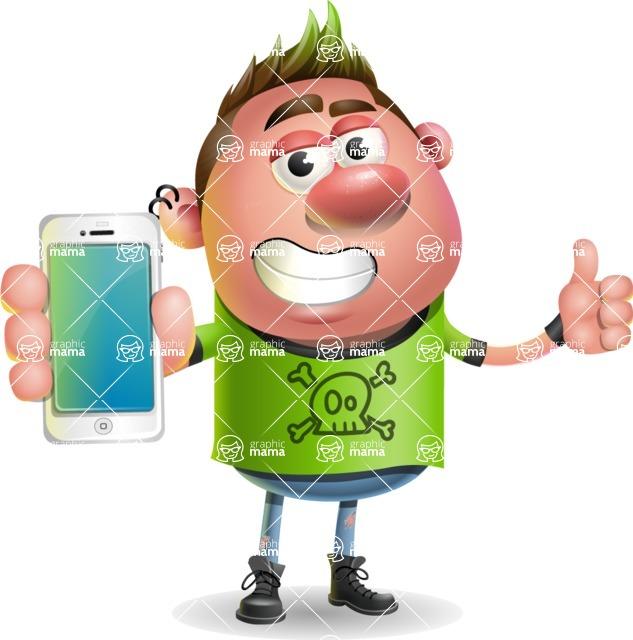 Punk Boy Cartoon Vector 3D Character AKA Carter Punk - iPhone