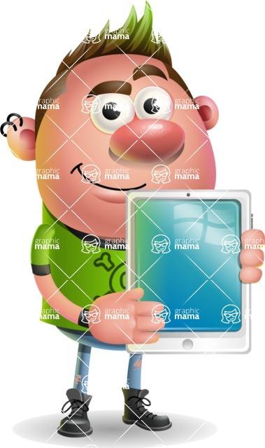 Punk Boy Cartoon Vector 3D Character AKA Carter Punk - iPad 1