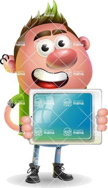 Punk Boy Cartoon Vector 3D Character AKA Carter Punk - iPad 2
