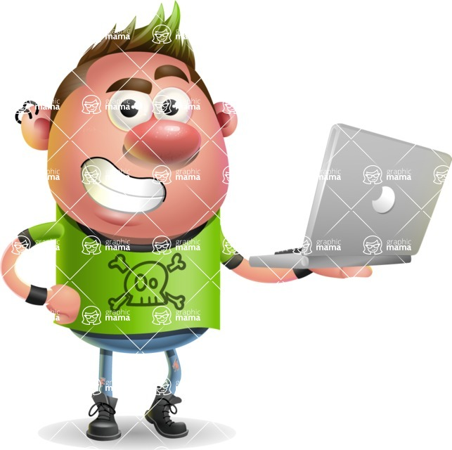 Punk Boy Cartoon Vector 3D Character AKA Carter Punk - Laptop 1