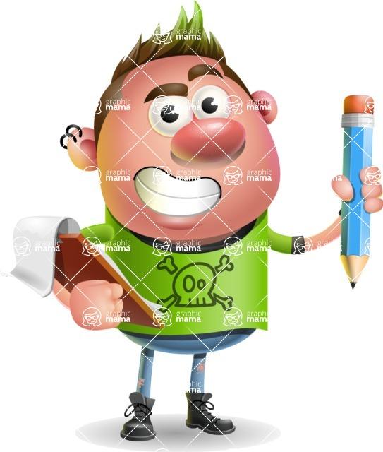 Punk Boy Cartoon Vector 3D Character AKA Carter Punk - Notepad 3
