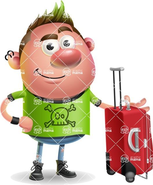 Punk Boy Cartoon Vector 3D Character AKA Carter Punk - Travel 1
