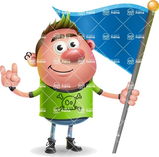 Punk Boy Cartoon Vector 3D Character AKA Carter Punk - Checkpoint