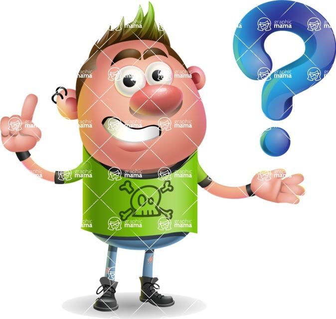 Punk Boy Cartoon Vector 3D Character AKA Carter Punk - Question