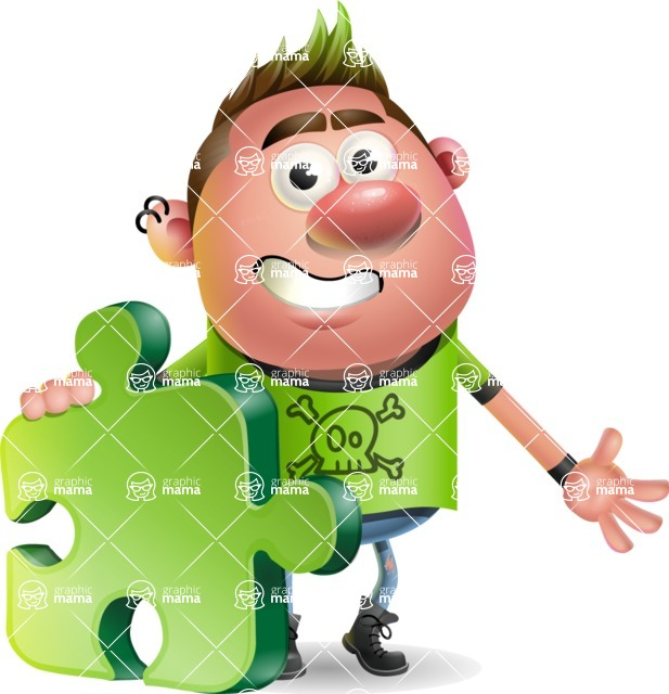 Punk Boy Cartoon Vector 3D Character AKA Carter Punk - Puzzle