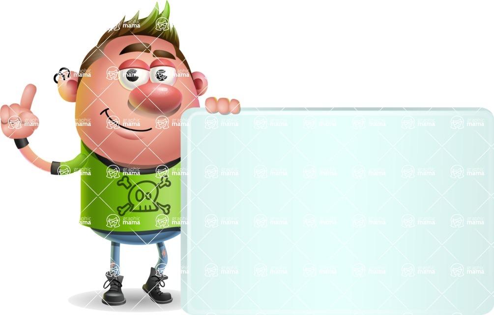 Punk Boy Cartoon Vector 3D Character AKA Carter Punk - Sign 7