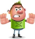 Punk Boy Cartoon Vector 3D Character AKA Carter Punk - Stop